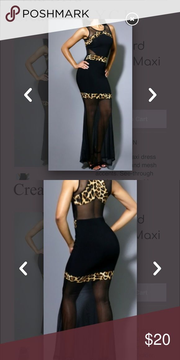 Leopard Maxi Dress Sleeveless maxi dress with leopard and mesh accents. See-through mesh on the shoulder, back and bottom skirt. Content: 95% Polyester 5%Spandex Dresses Maxi