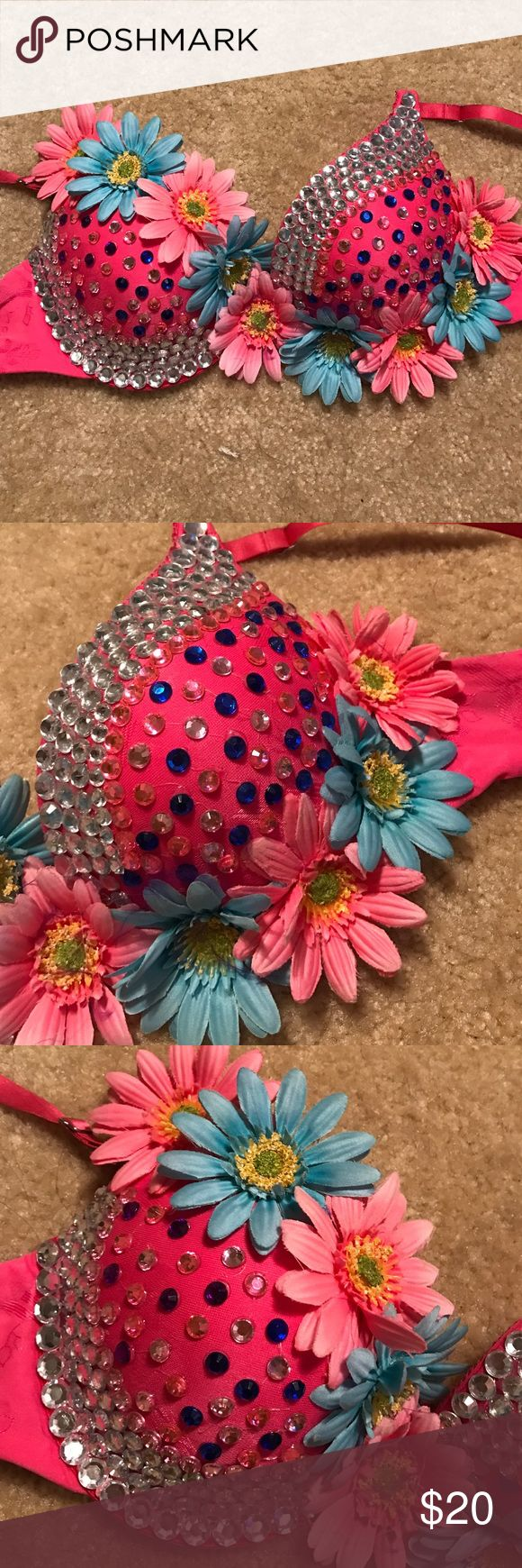 Pink and blue daisy rave bra Pink and blue daisy rave bra. Worn once. Excellent condition. Handmade. Size 34/b Intimates & Sleepwear Bras