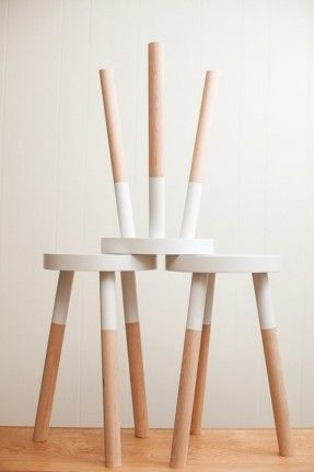 """Kitchen: You could give some yard sale stools a DIY paint """"dipped"""" makeover for a similar effect 