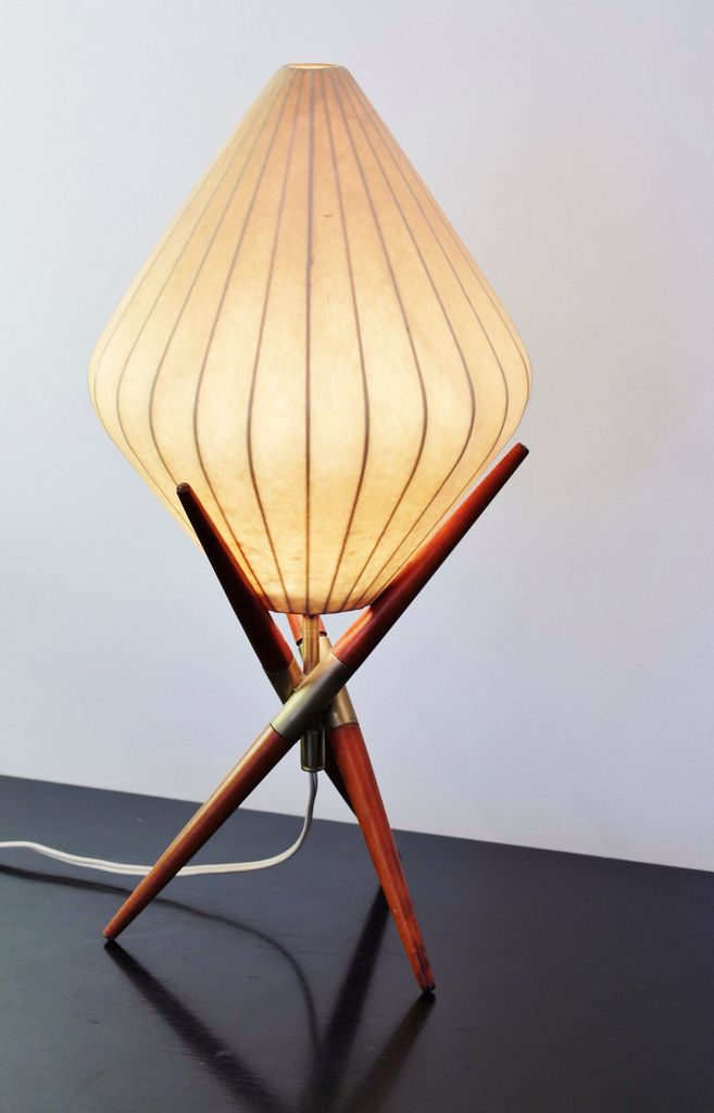 Fab midcentury modern fiberglass and teak table lamp #mcm #madmen