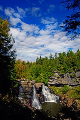 Blackwater Falls State Park in West Virginia. Cabins available. 3.5 hours away.