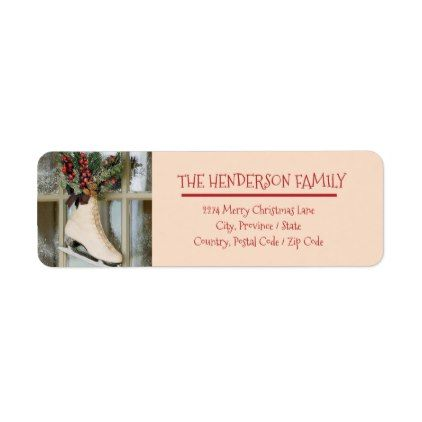 Merry Christmas - Skating - Return Address Sticker - christmas cards merry xmas family party holidays cyo diy greeting card