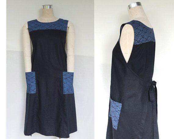 Women's wrap dress, Traditional Japanese print, Indigo Linen, Genuine Handmade, Linen Clothing, Pinafore, Jumper, Apron, Maternity dress.