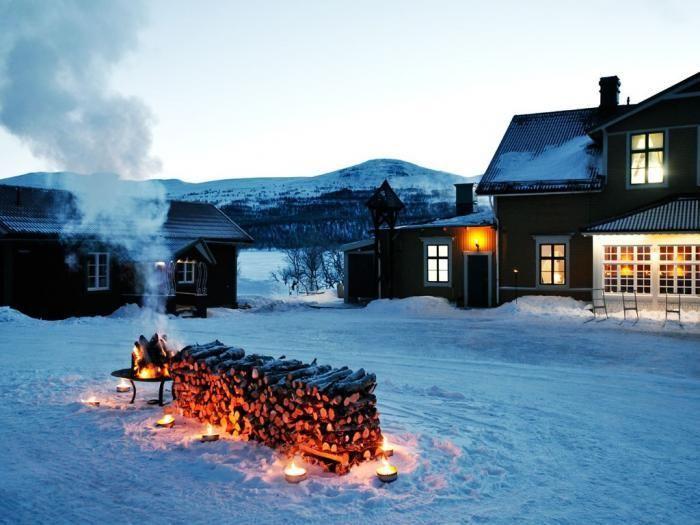Outdoor Firepit at Fjällnäs Reserve, Remodelista
