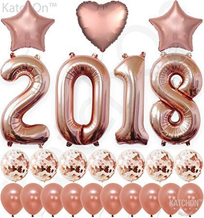 2018 Rose Gold Confetti Balloons, Graduation Decorations – Huge, 40 Inch