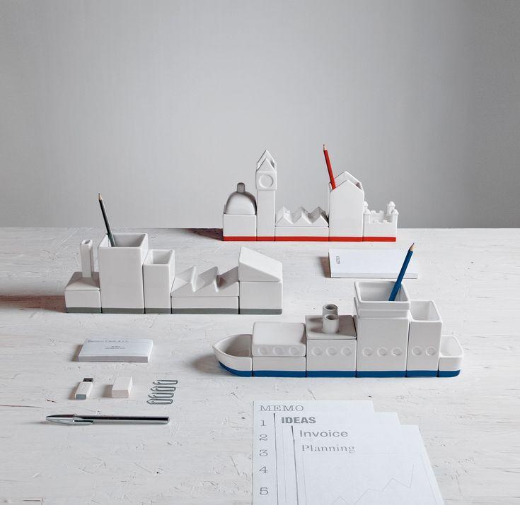 The Ship Porcelain Desk Organizer Set design by Seletti