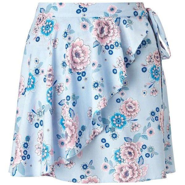 Miss Selfridge PETITE Floral Wrap Mini Skirt ($18) ❤ liked on Polyvore featuring skirts, mini skirts, blue, petite, floral print skirt, floral mini skirt, blue mini skirt, short skirts and tie-dye skirt