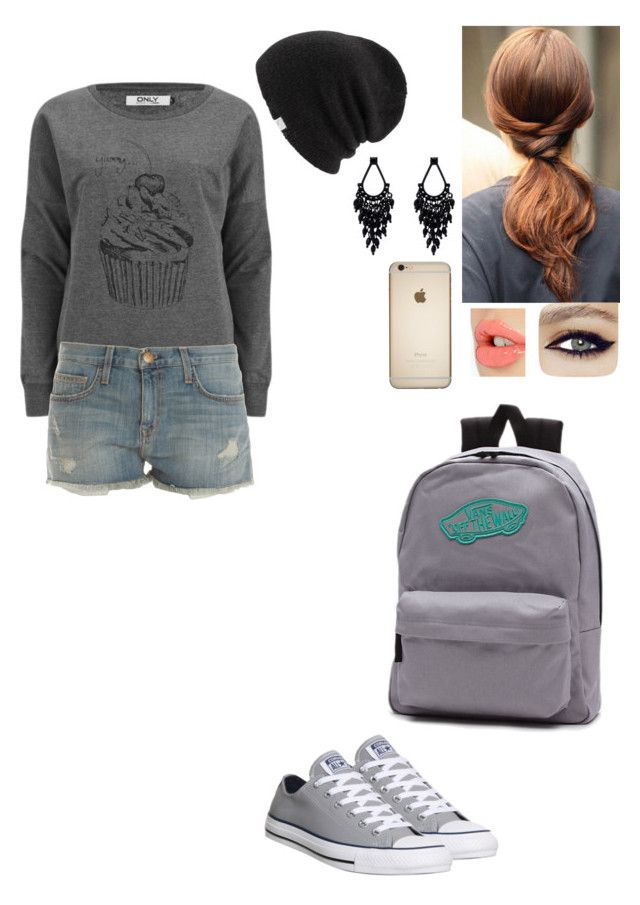 #Cute School Outfit by natasha-bozjic on Polyvore featuring ONLY, Current/Elliott, Converse, Vans, Oasis, Coal, Charlotte Tilbury, women's clothing, women's fashion and women
