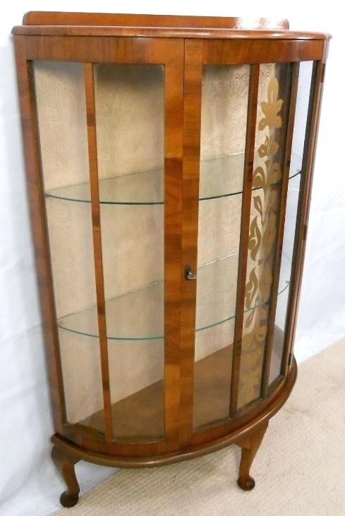 1950s Walnut China Cabinet Glass China Cabinet Metal Kitchen Cabinets China Cabinet Display