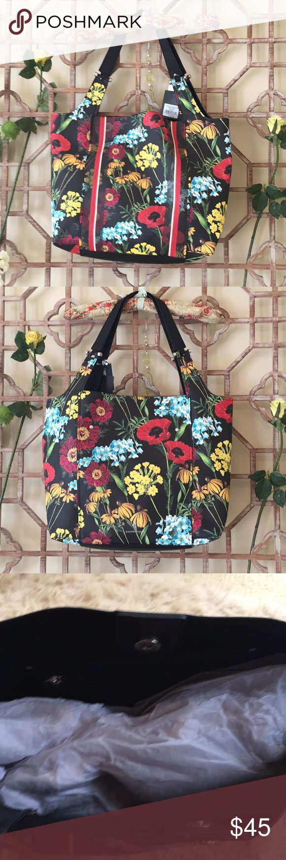 """NWT Nanette Lepore floral shoulder bag Brand new with tag by Nanette Lepore Update your look with the floral printed shopper tote. A magnetic snap opens to a spacious interior with a zip pocket. This tote mixes traditional style with contemporary chic.  - 17"""" X 5.5"""" X 12.5"""" handle drop 10"""". Large enough handbag,can accomodate your books, small makeups, wallet, umbrella  Classic vegan leather &durable silver hardware, body with floral design. Elegant high-end design goes well with any outfit…"""