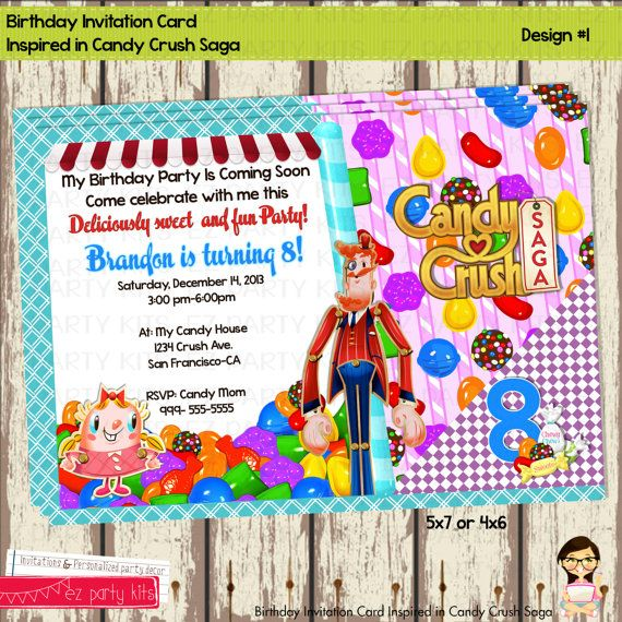 Candy Crush Saga Birthday Invitation Card Birthday By EZPARTYKITS, $10.00