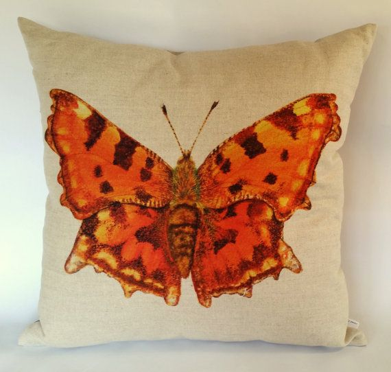 Comma Butterfly Cushion Cover British Butterflies by JaredDesigns