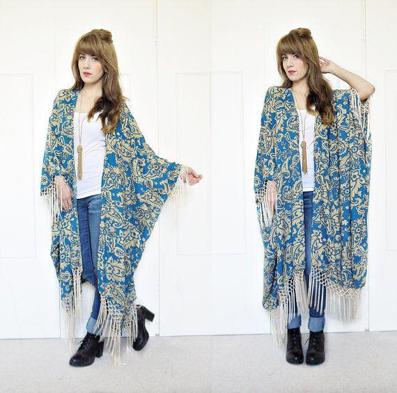 Fringe kimono jacket boho kimono tribal print kimono by bohokimono