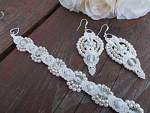 Náušnice - Ľadová kráľovná, biele náušnice - 6435596_white wedding macrame earrings