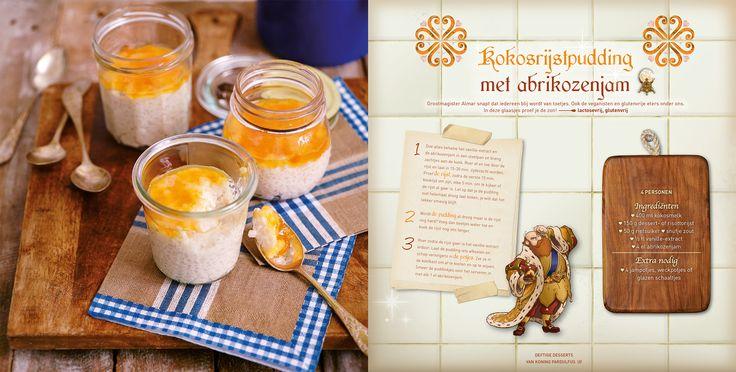 Kokosrijstpudding met abrikozenjam! Heerlijk toetje ook geschikt voor veganisten en glutenvrije eters. Dit recept komt uit Polles Pannenkoekenboek.