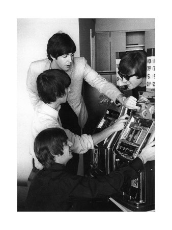 The Beatles playing slots