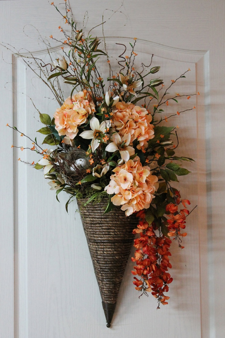 Large Door/Wall Basket, Elegant Hydrangeas, Wisteria, Beautiful Wicker/Medal --  FREE SHIPPING. $190.00, via Etsy.