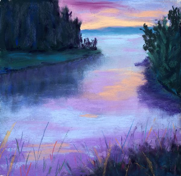 Pastel drawing by Diana Tripp. (original art, purple)
