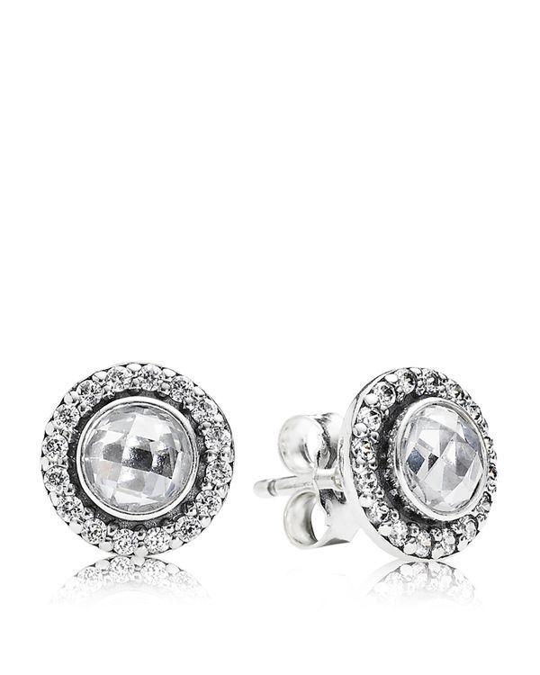 PANDORA Stud Earrings - Sterling Silver & Cubic Zirconia Brilliant Legacy