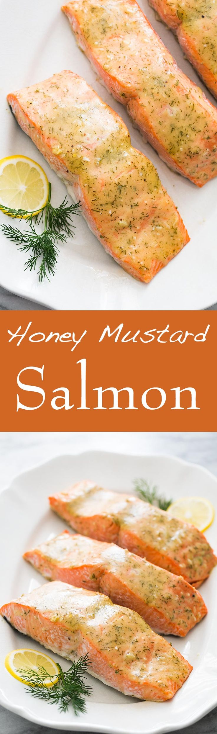 Honey Mustard Salmon, such a quick, EASY, delicious way to dress up salmon fillets! Takes only 20 minutes start to finish. On SimplyRecipes.com