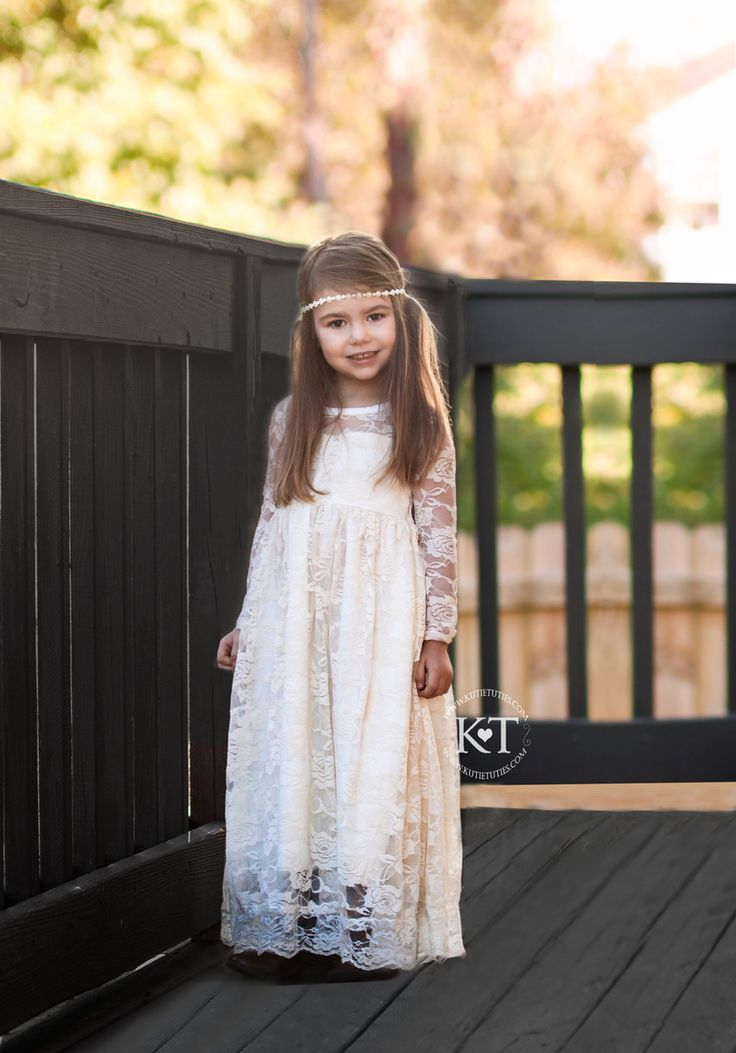 Ivory Lace Sweetheart Long Sleeve Dress - Kutie Tuties- Flower Girl, Long Sleeve