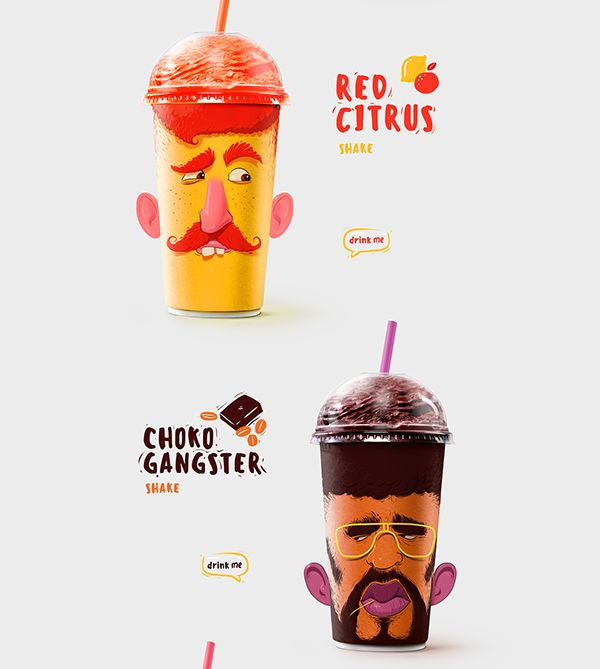 the packing design of milk shakes