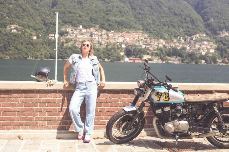 denim total look Mizuno 1906 T shirt Nuna Lie blogger lake Como moto