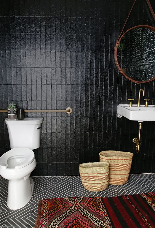 Best Dark Bathrooms Ideas On Pinterest Slate Bathroom Slate - Toilet mat black for bathroom decorating ideas