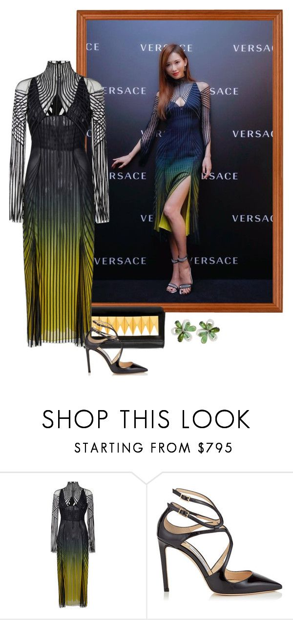 """""""Lin Chi-ling – Versace Shanghai Flagship Store Opening."""" by foreverforbiddenromancefashion ❤ liked on Polyvore featuring Giuseppe Zanotti, Versace and Lancer Dermatology"""