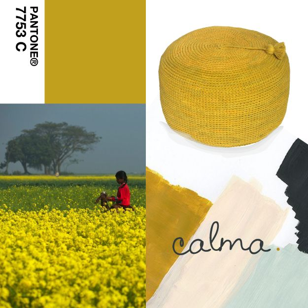 Puff Nepal - 50 cm diám. x 30 cm alto.  #mostaza #mustard #Pantone7753C #india #Pouf #Puffs #fields https://www.facebook.com/calma.bsas