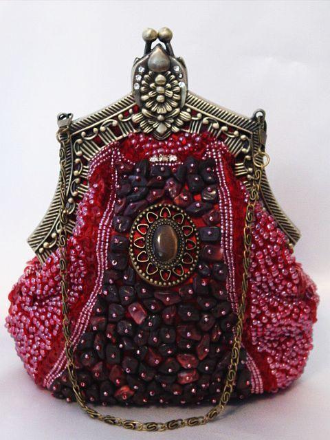 Burgundy Victorian Style Fully Beaded Crystal Purse