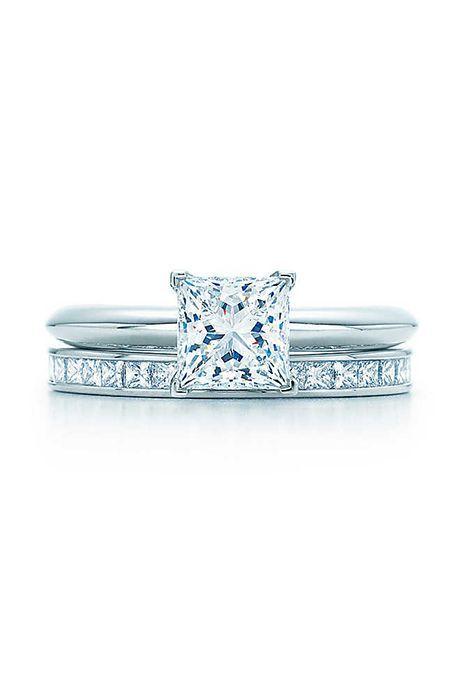 Brides: Tiffany & Co. . Princess-cut engagement ring, $10,700, Tiffany & Co.