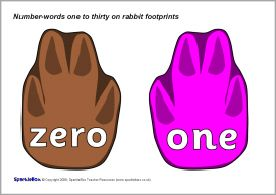 Number-words zero to thirty on rabbit footprints (SB1267) - SparkleBox