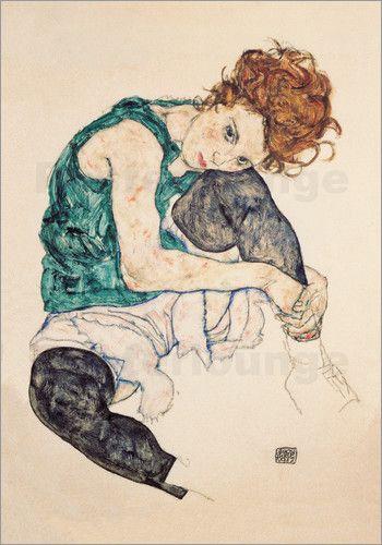 Poster Sitzende Frau mit gebeugtem Knie