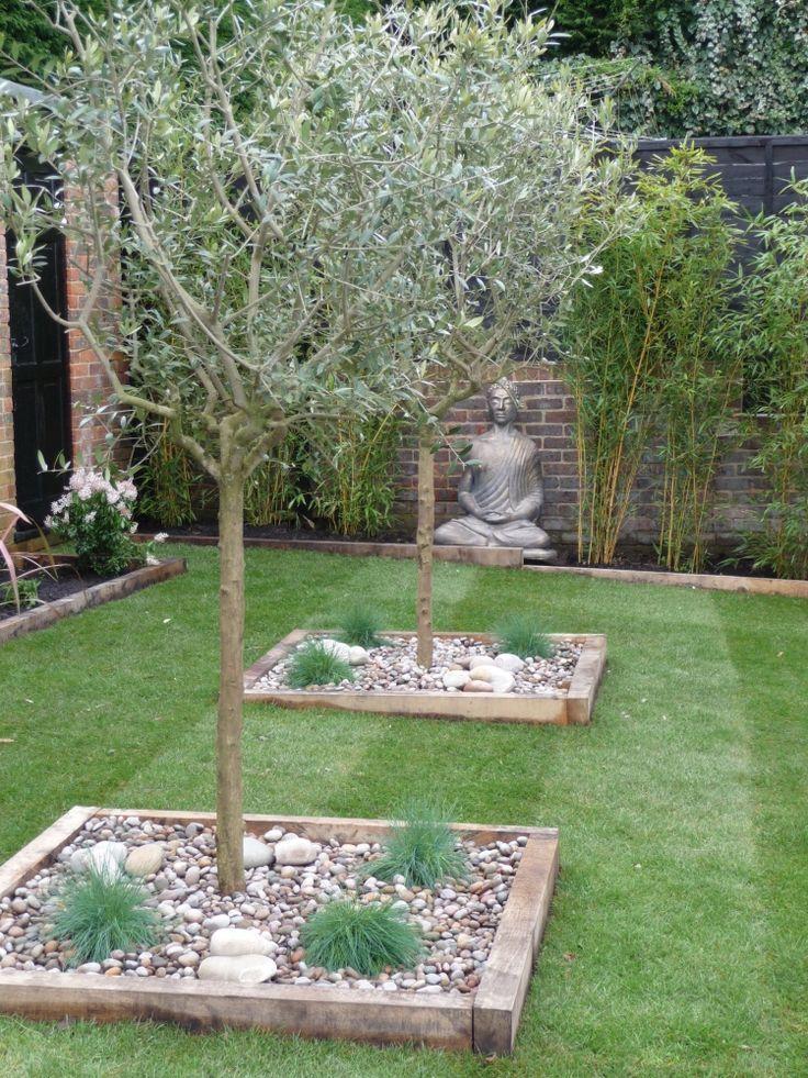 kiesbeet-anlegen-mediterran-garten-olivenbäume-buddha-gras-modern-gestaltung –