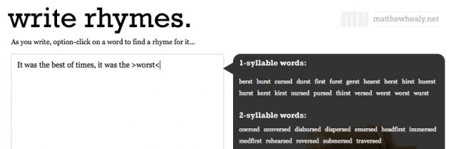 link to Rhyme While You Write! (Free Online Rhyming Dictionary)