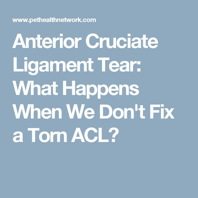 Anterior Cruciate Ligament Tear: What Happens When We Don't Fix a Torn ACL?
