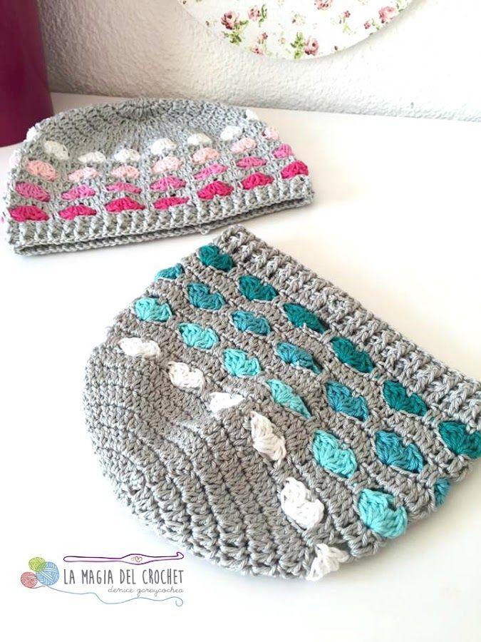 Gorro de corazones a crochet | Manualidades