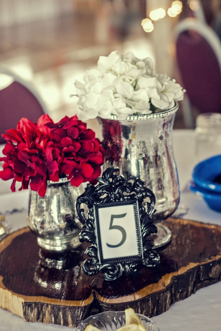 wedding centerpieces fake flowers%0A Wedding centerpiece Mercury glass vases  artificial flowers  polyed log  disc