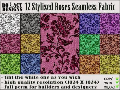 Ro!Act Designs 12 Stylized Roses Seamless Fabrics