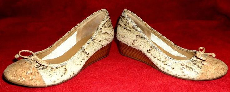 Rare Cole Haan-Nike Air Snake Embossed Leather Cork Toe Cap Wedge Pump NWOB #ColeHaan #PlatformsWedges