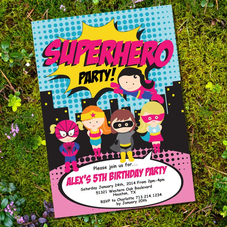 birthday party invitations printable%0A Girl Superhero Party Invitation  Instantly Downloadable and Editable File   Personalize and Print at home