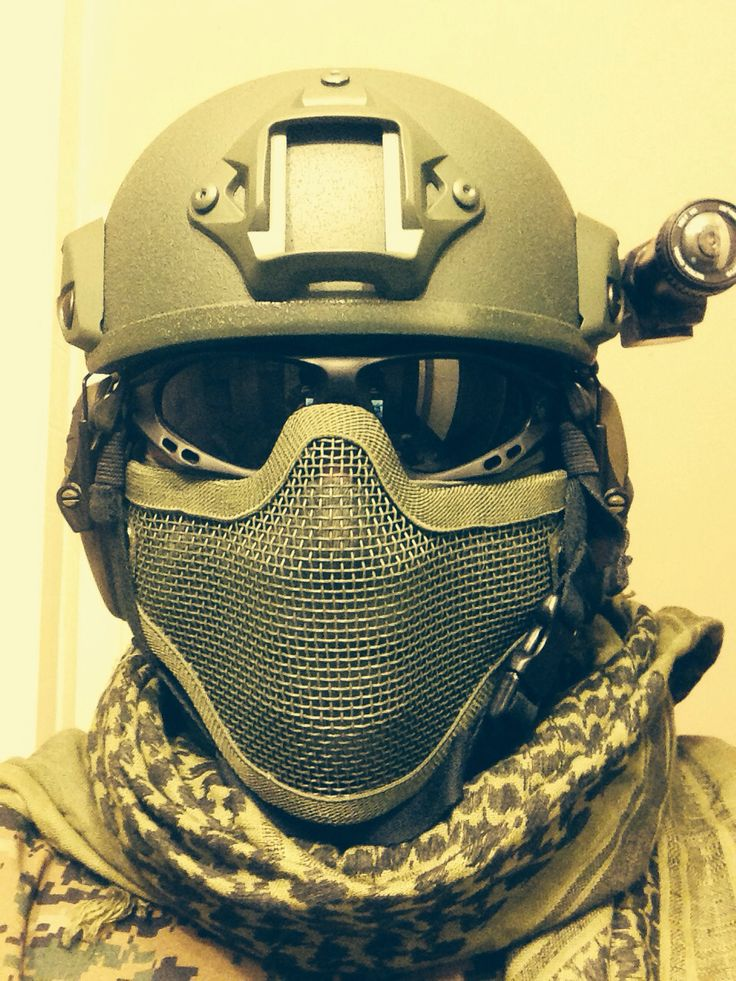 Airsoft helmet, tactical goggles, mesh mask, and ghost gopro camera