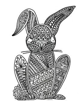 rabbit detailed coloring pages for adults