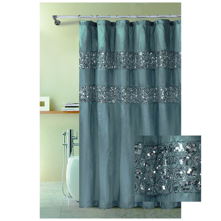 Grey Sparkle Shower Curtain Infinity Fabric Shower