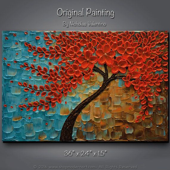 Large 36x24x1.5 Original Abstract Blossom Tree by ShopModernArt
