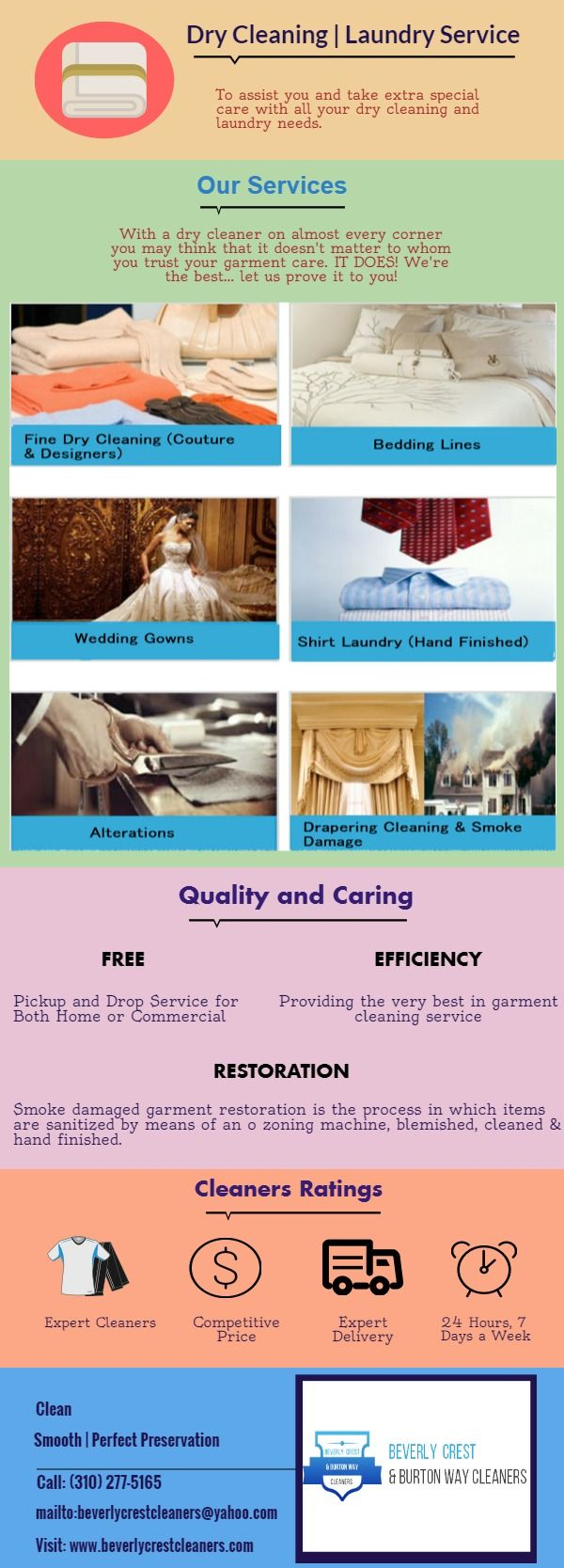 Are You Looking for Professional Garment Services:- Beverly Crest and Burton Way Cleaners is a family run business and independent. We offer high quality dry cleaning and laundry service, gentle way to clean your clothes. Call: (310) 277-5165.