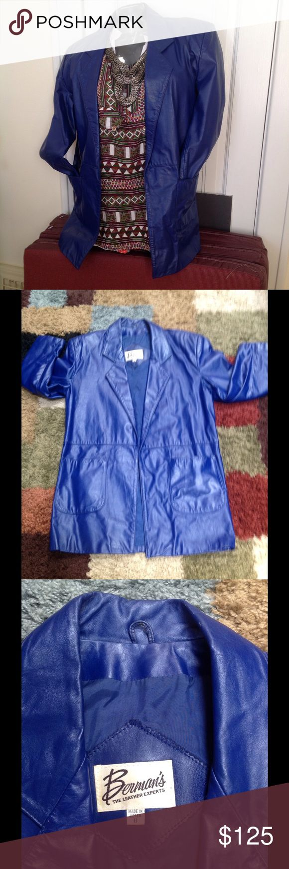 Royal Blue Leather Royal blue blazer jacket with deep pocket, open blazer type, very soft leather, excellent condition and wore only a few times. This is also on another site. Jackets & Coats Blazers