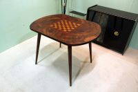 Tafel Fifties Schaaktafel blad ingelegd Apart.      Very nice looking vintage chess table