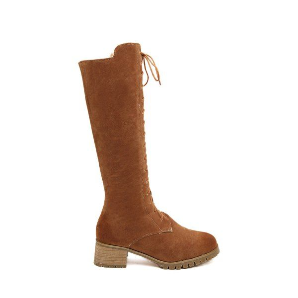 Trendy Chunky Heel and Suede Design Women's Mid-Calf Boots #women, #men, #hats, #watches, #belts, #fashion